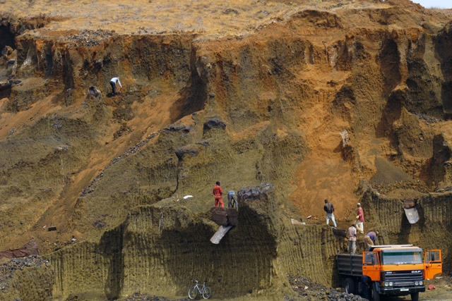 Men-at-work-in-a-opencast-mine